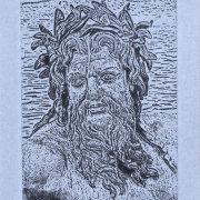 Greek God - 5x7 Intaglio Print (Non-Toxic) on Handmade Paper 2008
