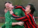 Good pictures can be caught even at the small sporting events. Here a player from Presteigne Reserves and a rival from Radnor Valley settle a disagreement.