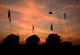 Red Sky and Flagpoles
