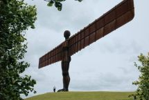 Elderly Man with the Angel of the North