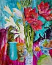 Amaryllis and LiliesFrame dimensions: 68X57cm