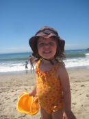 Cora Rose at the beach in Ventura.