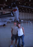 Posing under the wing of the Osprey (with Cora).