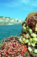 Fishing equipment piled on harbourside in Porte Vendres near Collioure