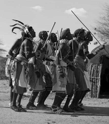 Samburu warriors dancing, Kenya