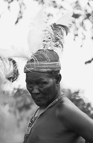 Old warrior in full dress, Kenya