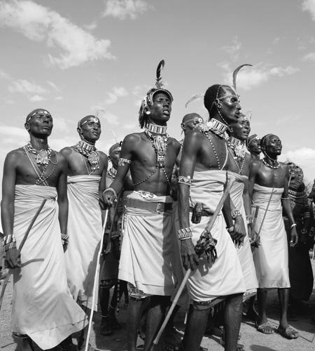 Warriors dancing at ceremony, Kenya