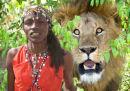 Masai Warrior & Lion