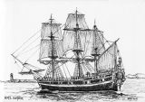 Pen & Ink, HMS Surprise.
