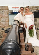 The Bride & Groom at the Castle Cornet