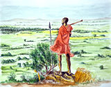 Masai Warrior Overlooks his land