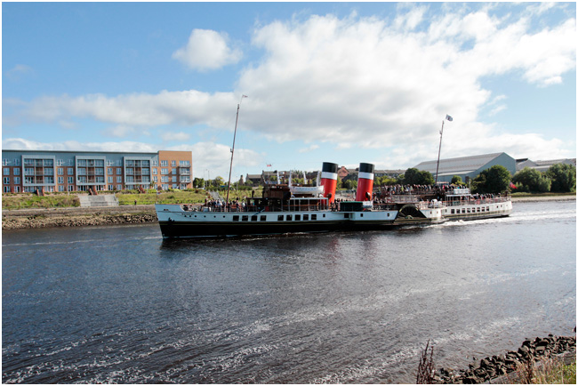 PS Waverley heading downriver, viewed from Renfrew.