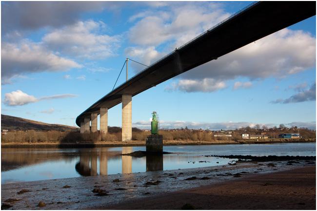 Under the Erskine Bridge, looking north to Old Kilpatrick.