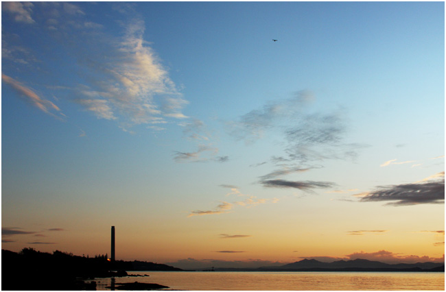 At Lunderston Bay, beyond Gourock, looking towards the Inverkip Power Station.