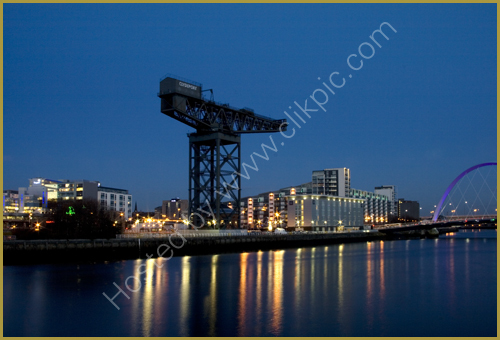 Lights reflected in the River Clyde