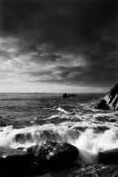 Waves hitting the Rocks.