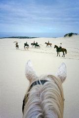 On horseback in dunes