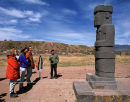 Tour group with guide at Tiwanaku, Bolivian Altiplano