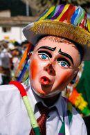 Masked Aucca Chileno dancer during the Virgen del Carmen parades