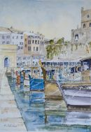 Ciutadella Harbour, small fishing boats.