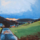 "Arkengarthdale, Looking towards Reeth Low Moor, 2007, Acrylic on Board, 6"" x 6"" *SOLD*"