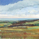 "Reeth Low Moor, Calver Hill from Great Pinseat, 2007, Acrylic on Board, 6"" x 6"" *SOLD*"