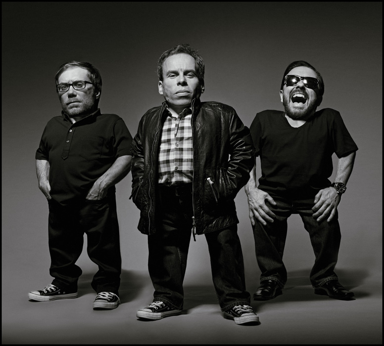 Ricky Gervais, Stephen Merchant and Warwick Davies