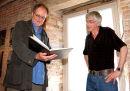 Actor Jim Broadbent with artist Robert Machin