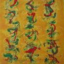 'Orange Calligraphy' oil & beeswax on board 30x30cm