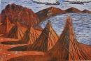 Titicaca Haystacks woodblock print